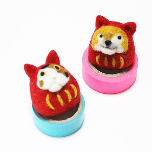 -Cat and dog Broach-They wearing a daruma costume.