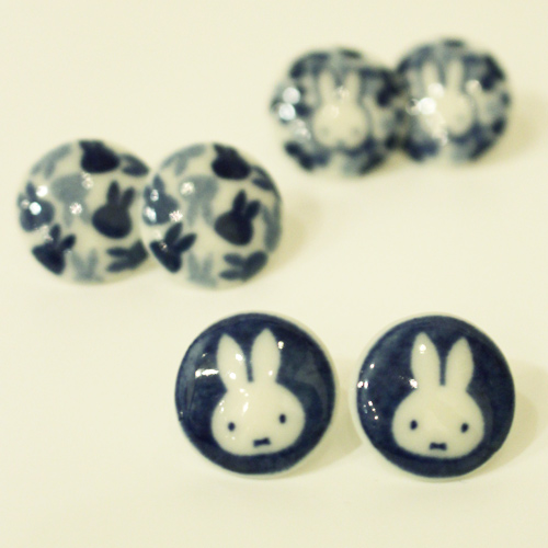 Miffy earrings Mino-yaki