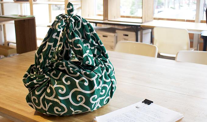 Furoshiki à motif karakusa vert